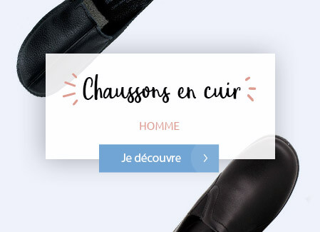 Chaussons cuir homme